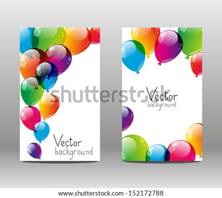 Holiday banners with color balloons - stock vector