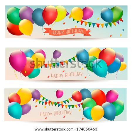 Holiday Banners Colorful Balloons Vector Stock Vector 194050463 - Shutterstock