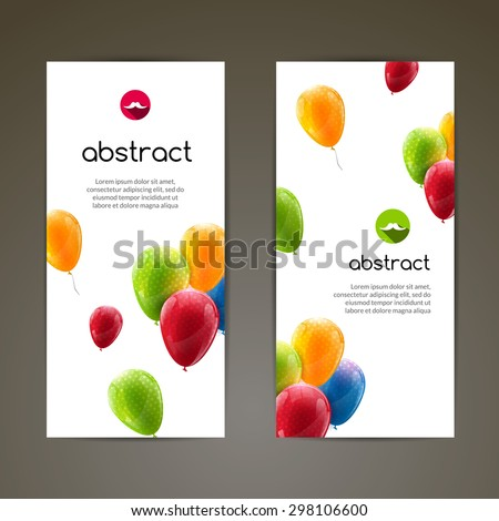 Holiday banners with colorful balloons. Vector illustration - stock vector