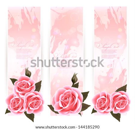 Holiday banners with pink beautiful roses. Vector - stock vector