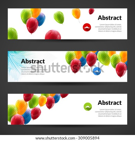 Horizontal Banners Set Abstract Molecules Design Stock Vector ...