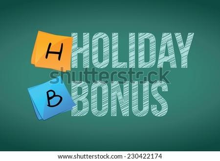 holiday bonus message illustration design over a chalkboard background - stock vector