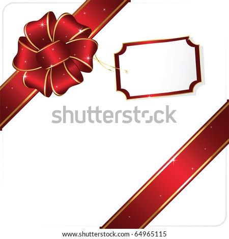Holiday bow and ribbon, illustration - stock vector