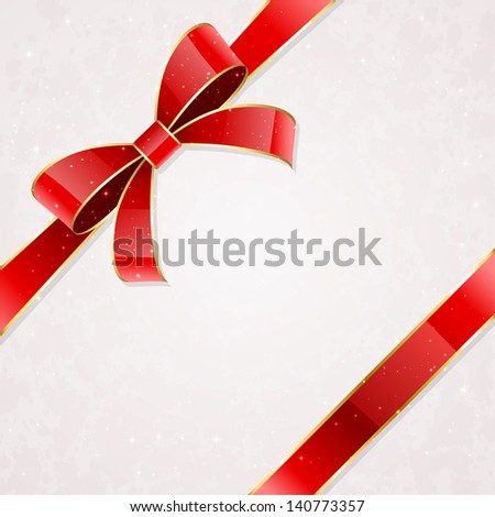Holiday bow and ribbon on a packaging paper background, illustration.