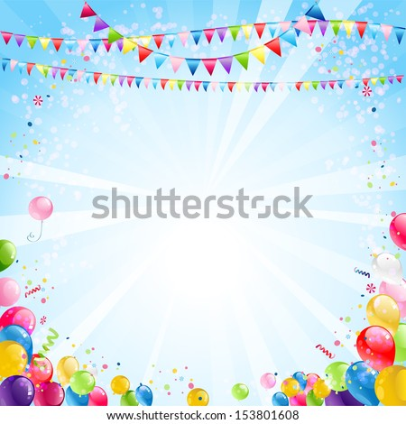 Holiday bright background with festive balloons - stock vector