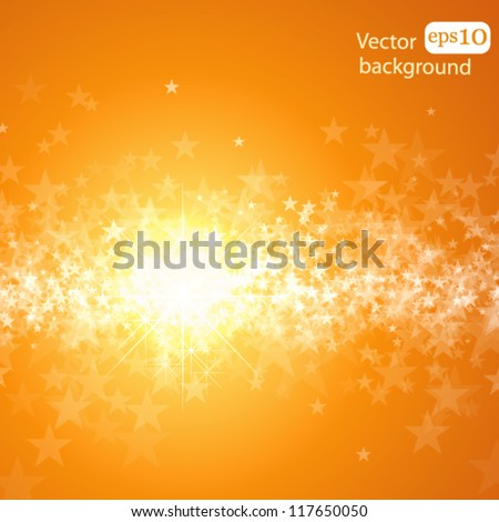 Holiday bright background with stars and light - stock vector