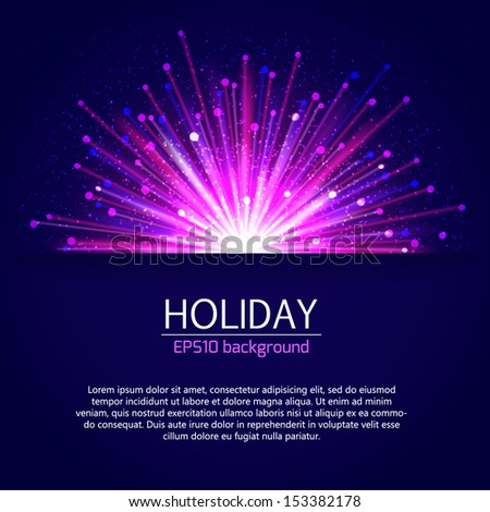 Holiday bright salute background with blurred photorealistic light rays. Vector illustration. - stock vector