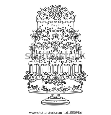 Holiday Cake Isolated On White Background Stock Vector