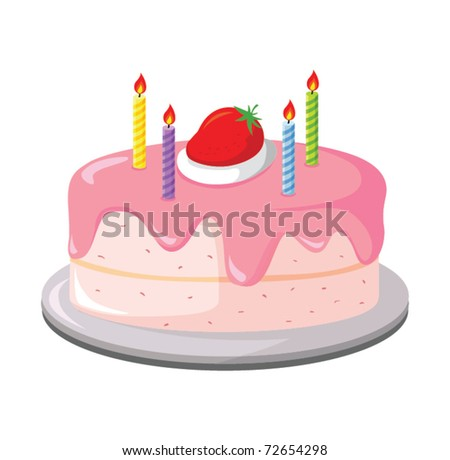 Holiday cake with strawberry and candles - stock vector