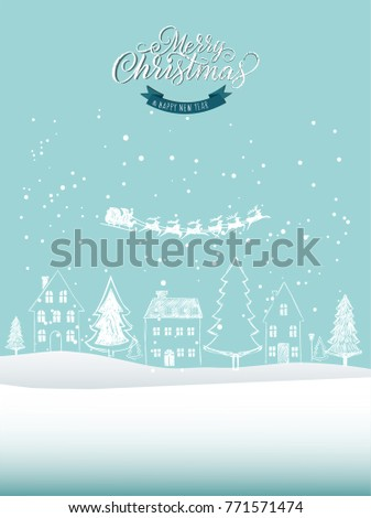 Holiday card. Christmas landscape background, with house, tree and santa sleiigh. White and blue, vector