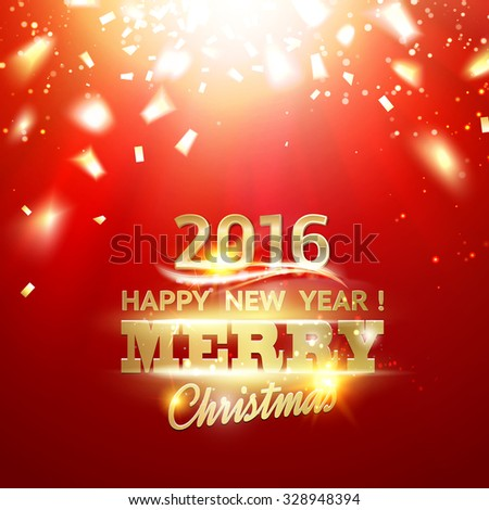 Holiday card. Gold template over red background with golden sparks. Happy new year 2016. Red underwater abstraction. Fallen sparks and sun rays in the red area. Vector illustration. - stock vector