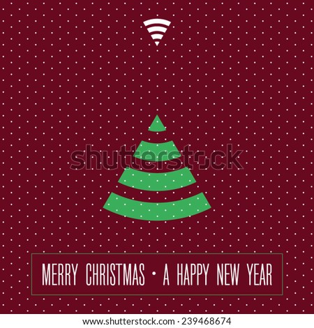 holiday card / happy New Year and Merry Christmas / Christmas digital fir-tree  - stock vector