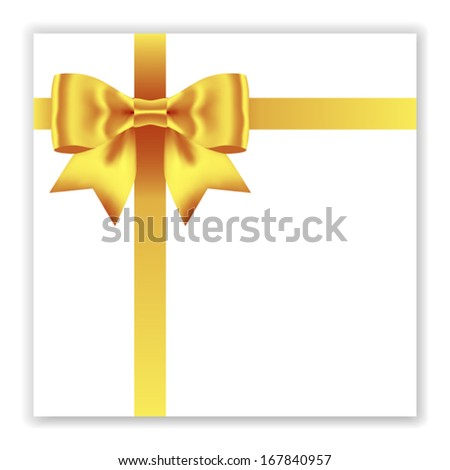 Holiday card notes with gold gift bow with ribbons, vector