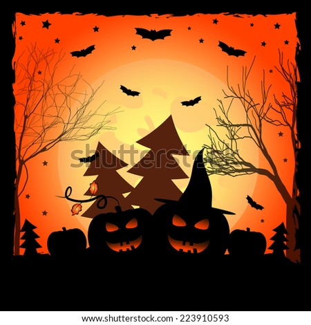 Holiday card on theme of Halloween. Pumpkins with grin in forest against big moon. Trick or treat. Vector illustration