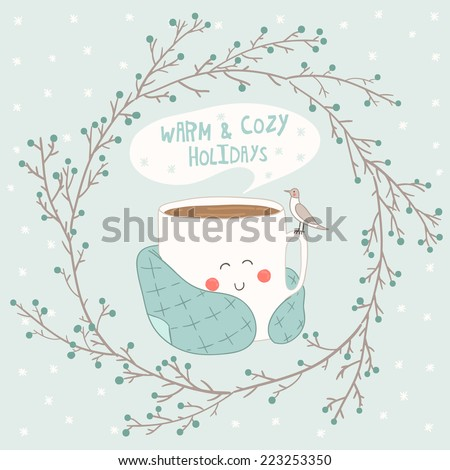 Holiday card with cute cup of tea in blanket and with seagull. Christmas wreath vector illustration.  - stock vector