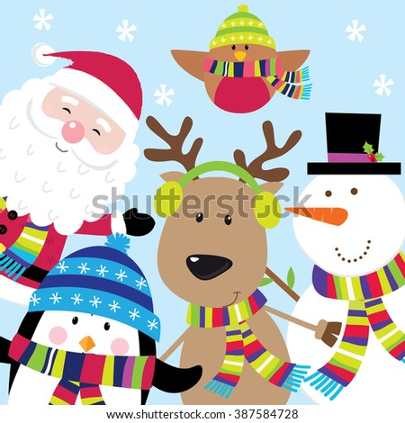 Holiday Card with Cute Santa and Friends - stock vector