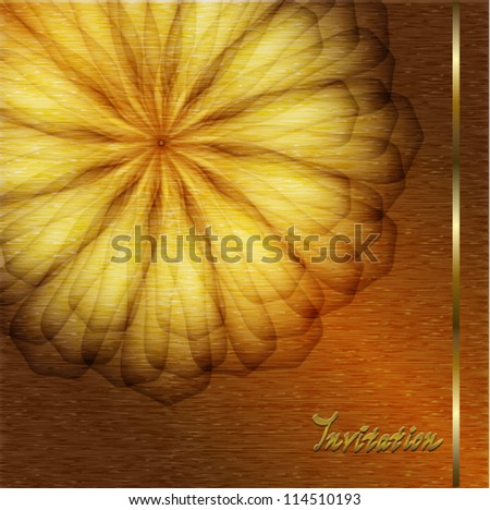 Holiday card with gold flower