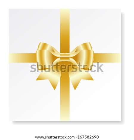 Holiday card with gold gift bow with ribbons, vector - stock vector