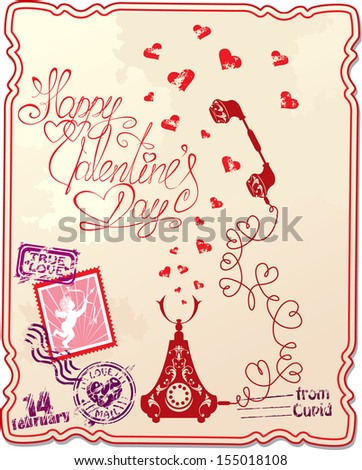 Holiday card with hand written text Happy Valentine`s Day with retro telephone, hearts and stamp in vintage style.  - stock vector