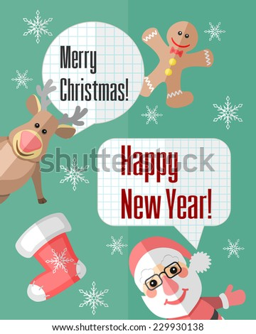 Holiday Christmas card with Santa Claus and reindeer and paper cut speech bubbles - stock vector