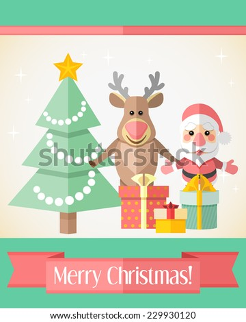 Holiday Christmas card with Santa Claus and reindeer standing near fir tree and gifts - stock vector