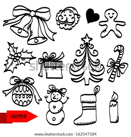 Holiday Christmas set sketch icon Christmas bells, Santa Claus, heart, Gingerbread Man, holly berry, gift box, Christmas tree, candy cane, Christmas ball, Christmas Stocking, candle isolated - vector - stock vector