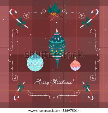 Holiday Christmas themed card. Vector illustration.
