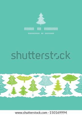 Holiday Christmas trees vertical torn seamless pattern background - stock vector