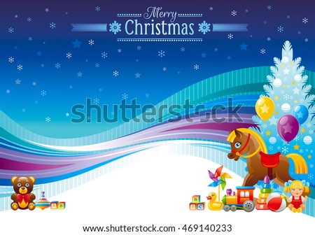 Holiday christmas vector illustration in modern elegant style. Abstract template with Christmas tree, baby toy gifts. Teddy bear, train, rocking horse, doll. Text lettering on blue background.