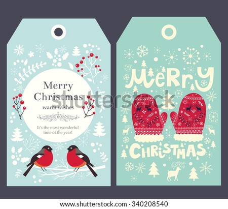 Holiday Christmas vector tags with mittens and bullfinch - stock vector