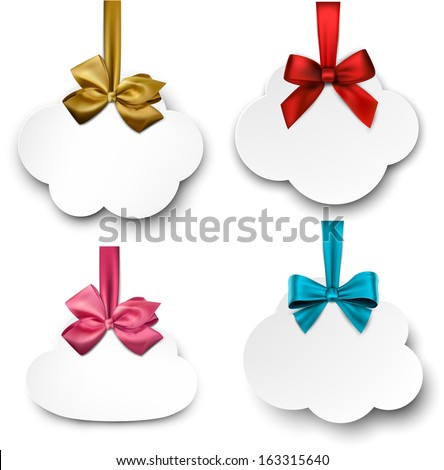 Holiday cloud gift cards with color ribbons and satin bows. Vector illustration.  - stock vector