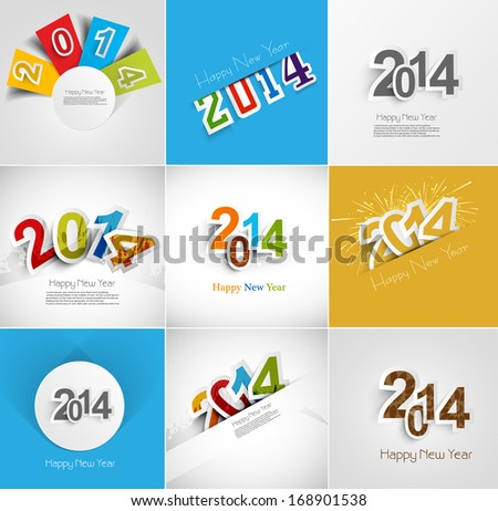 Holiday collection for Happy New Year beautiful greeting card illustration vector - stock vector