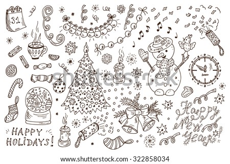 Holiday Collection. Happy New Year. Happy winter holidays. Merry Christmas. Set of New Year characters and decorations. Hand Drawn Doodles illustration. - stock vector