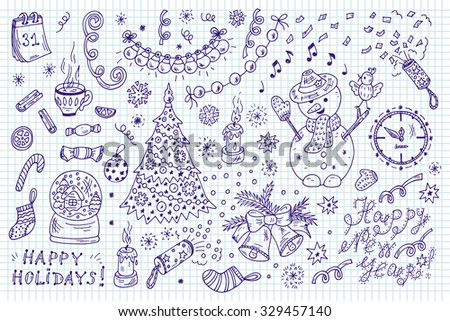 Holiday Collection. Happy New Year. Happy winter holidays. Merry Christmas. Set of New Year characters and decorations. Hand Drawn Doodles illustration - stock vector