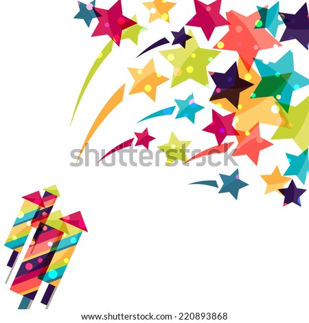 Holiday colorful background with shiny colored firework. - stock vector