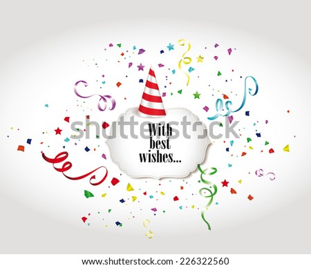 Holiday colorful banners with confetti, ribbons and Party Hat - stock vector