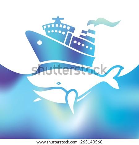 holiday cruise ship - big whale - symbol sea - stock vector