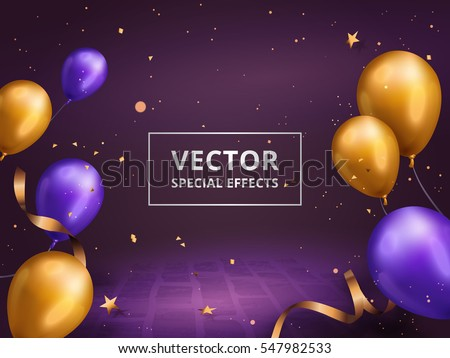 Holiday decoration frame, golden and purple balloons frame with gold particles isolated on purple background