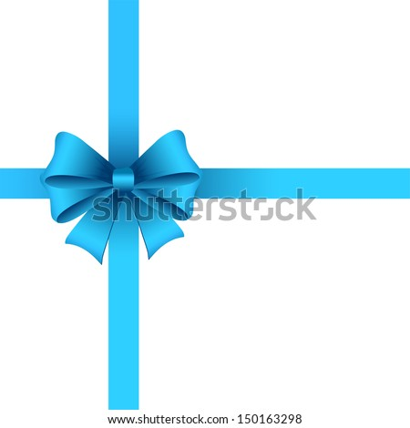 Holiday decoration with blue  bow  - stock vector