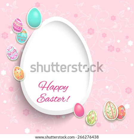 Holiday easter card with decorative painted eggs. - stock vector