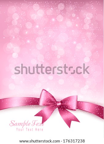 Holiday elegant background with gift glossy bow and ribbon. Vector. - stock vector