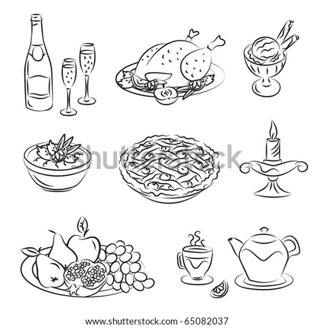 Holiday Family Dinner - stock vector
