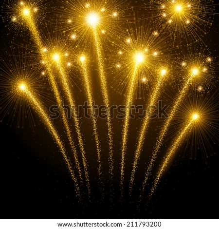 Holiday fireworks - stock vector