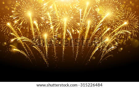 Holiday fireworks on dark background. Vector illustration - stock vector