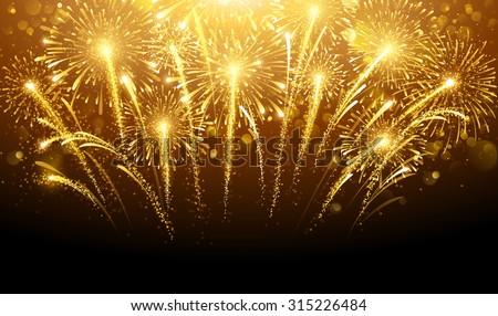 Holiday fireworks on dark background. Vector illustration