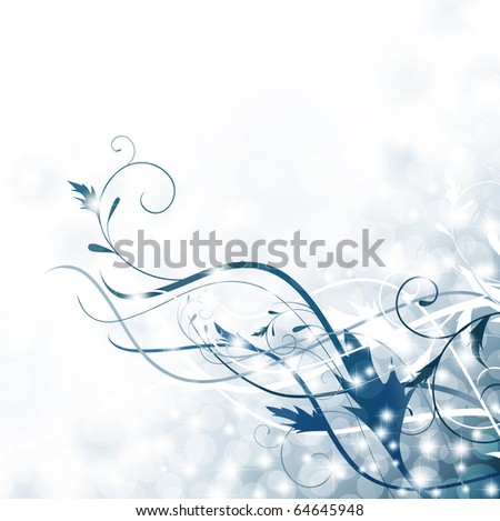 holiday floral swirl decoration with stars in blue, copyspace