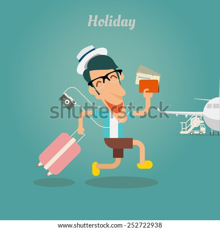 Holiday for businessman, walking with travel bag - stock vector