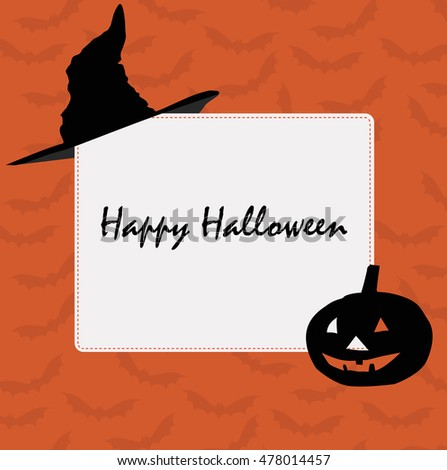 holiday frame background for Halloween. Pattern for greeting or invitation to a party. Baby vector illustration