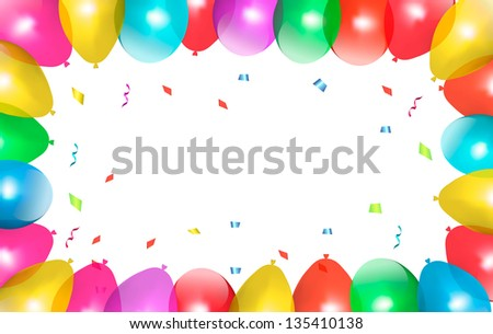 Holiday frame with colorful balloons. Vector. - stock vector