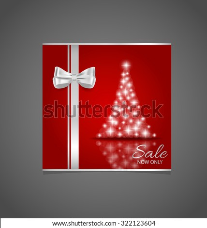 Holiday gift coupons with Christmas tree, vector illustration. - stock vector